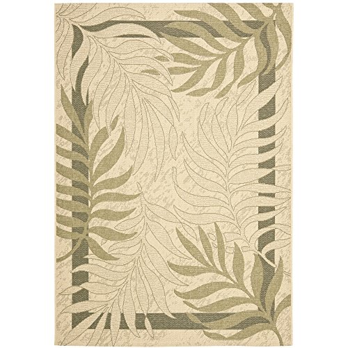 Safavieh Courtyard Collection CY7836-14A5 Cream and Green Area Rug, 9 feet by 12 feet (9' x 12')
