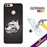 Huawei P Smart Cover Gel Flexible, [ +1 Tempered Glass Screen Protector ], TPU German Tech Case made of Silicone, protects your Smartphone, with our exclusive designs - Angry Dog.