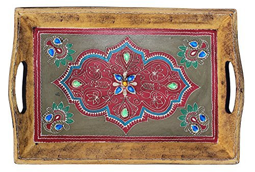 **Items on Sale** SouvNear Handmade Wooden Decorative Tray - 16 x 10 Inch Antique-Look Hand-Painted Wood Tray - Centrepiece for Table - Kitchen & Table Decor Accessories