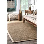 nuLOOM Elijah Seagrass with Border Area Rug, Beige, 8 x 10