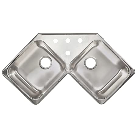 "Kindred FCR804BX 8"" Deep Stainless Steel Double Bowl Corner Topmount Kitchen Sink, 20 g"