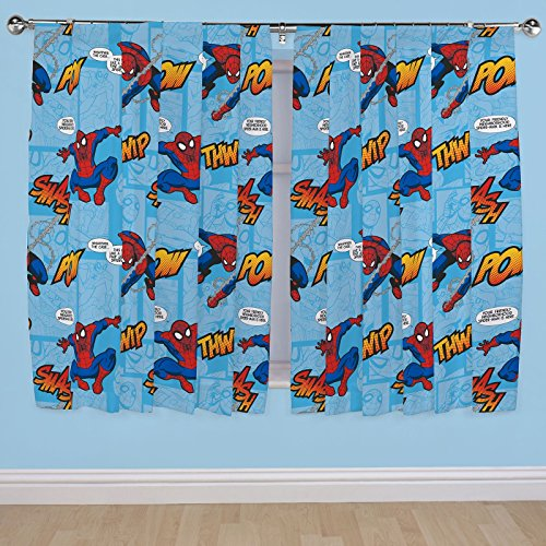 Disney 54-Inch Spiderman Ultimate Thwip Curtains, Multi-Colour