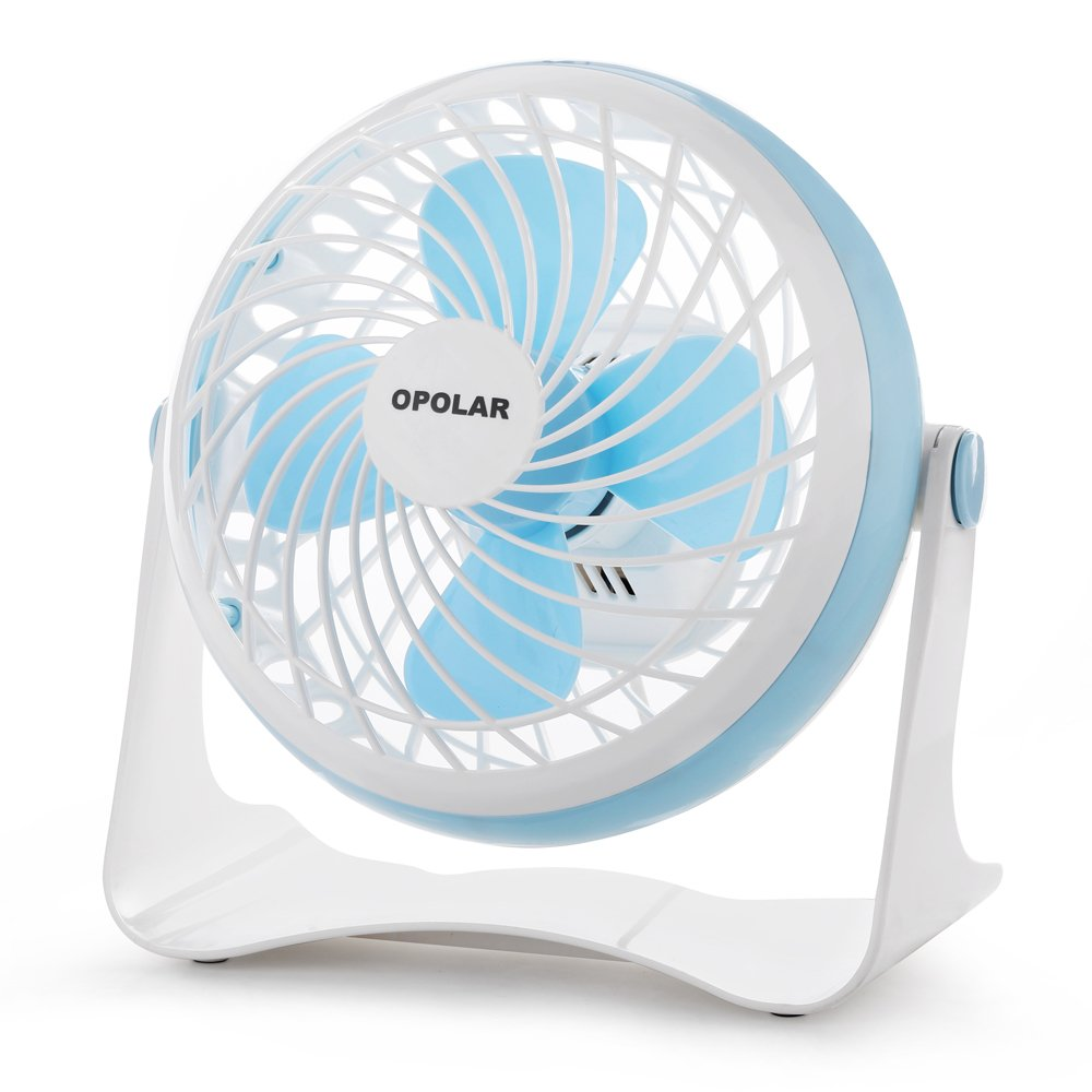 Opolar F60 Desktop USB Fan, Mini Table Fan for Home and Office (USB Powered, 2 Fan Speeds, Large Airflow, Personal Cooling, Quiet Operation)