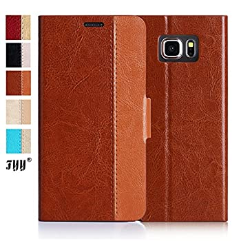 FYY [Top-Notch Series] Luxurious Genuine Leather Wallet Flip Case Cover for Samsung Galaxy S6 Edge+(Plus) Dark Brown & Light Brown