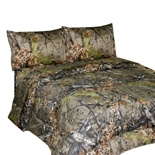 Buy Discount THE WOODS Premium Microfiber CAMO Sheet Set (Natural, Queen)