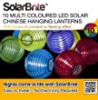 Solar Powered Chinese Hanging Lanterns - Solar Brite Deluxe 10LED Multi Coloured