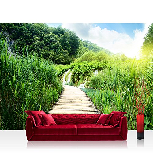 vlies-fototapete-400x280-cm-premium-plus-wand-foto-tapete-wand-bild-vliestapete-wood-way-in-deep-for