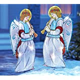 Collections Etc Outdoor Lighted Christmas Angels Garden Stakes - Pair Of 2