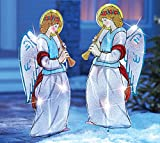 Outdoor Lighted Christmas Angels Garden Stakes - Pair Of 2