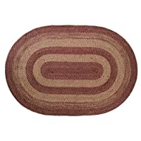 Burgundy Tan Jute Rug Oval 72x108