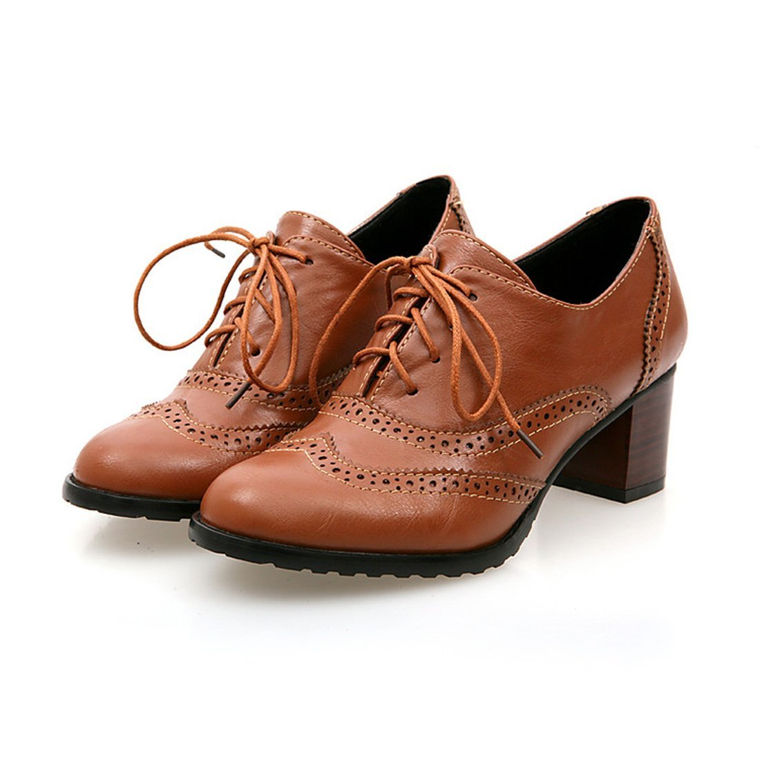 England Brogue Shoe Womens Lace-up Mid Heel Wingtip Oxfords Vintage PU Leather Shoes 0