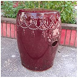 Vintage Red Tasseled Drum Creamic Garden Stool