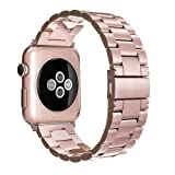 Simpeak Stainless Steel Band Strap for Apple Watch 38mm Series 1 Series 2 Series 3 - Rose Gold (Color: Rose Gold-38mm)