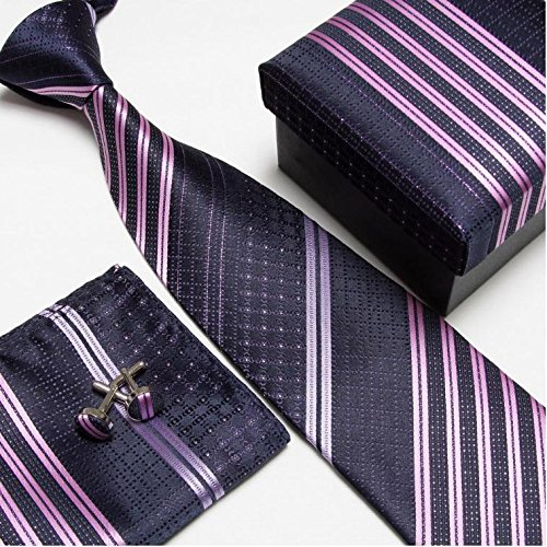 Striped Neck Tie Set Neckties Cufflinks Hanky High Quality Ties Cuff Links Pocket Square Snot-rag Handkerchiefs (Brooks Brothers Pocket Square compare prices)