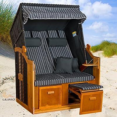 Strandkorb BALTIC-R AOC, anthrazit, grau-weiß Nadelstreifenbezug, LILIMO ® von LILIMO ® bei Gartenmöbel von Du und Dein Garten