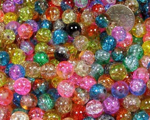 50pcs Mix 2-tone Crackle Lampwork Glass Round Beads 8mm