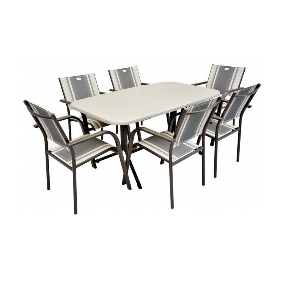 JUSThome Gartenmöbel Sitzgruppe Albergo Sydney Set 6x Stuhl + 1x Tisch in Rattan-Optik kaufen