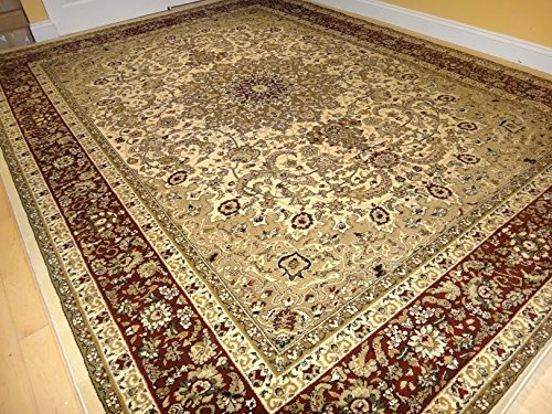 Large 8x11 persian style rug oriental rugs cream area rug for Dining room rugs 5x7