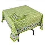 Green Summer Spring Decorations,Tablecloth With 4 Napkins Set ,Cotton Indian