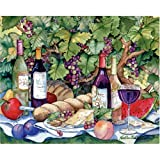 "Magic Slice Non-Slip Flexible Cutting Board, Gourmet Size 12"" x 15"", Vineyard Picnic by Kathleen Parr McKenna"