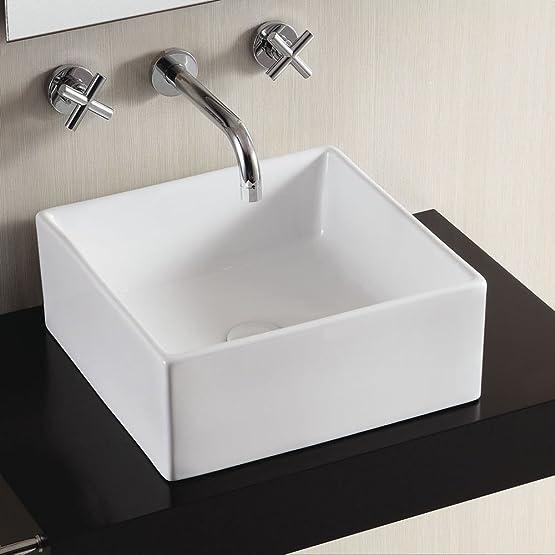 Perla Extra Sottile ceramica lavabo bagno quadrato bianco 395X 385mm