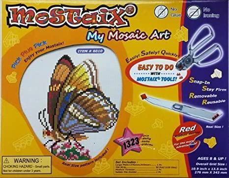 Mostaix Red Ribbon Series Butterfly Mosaic Art Set by Mostaix (English Manual)