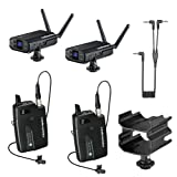 Audio-Technica System 10 Digital Wireless Camera Mount Microphone System (2 Mics Included) with Dual Mount Camera Shoe (2x Lavalier Mics) (Color: Black, Tamaño: 2x Lavalier Mics)