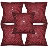 "Rajasthali Home Decorative Handmade Embroidery Work Cotton Cushion Cover 16"" X 16"""