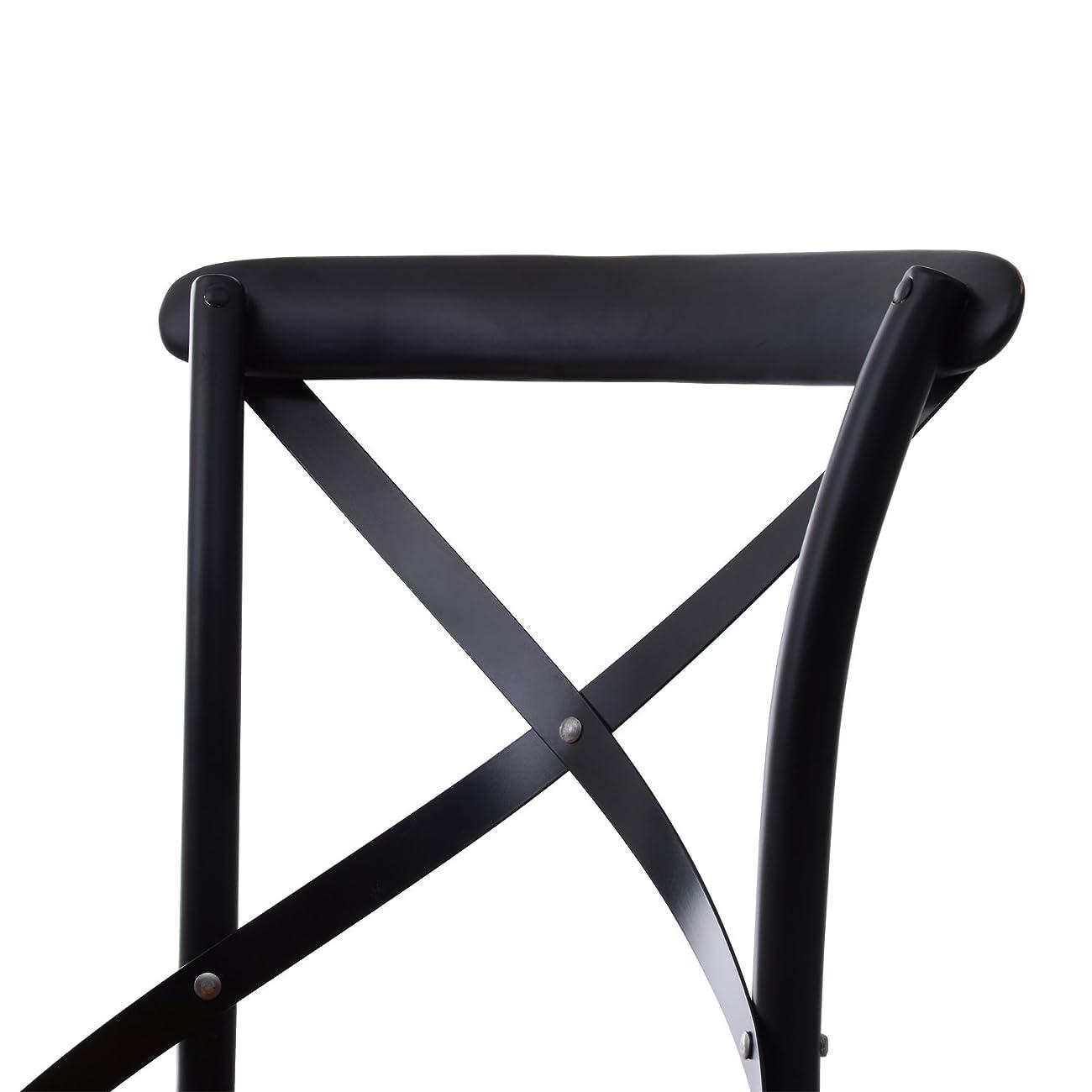 HomCom Vintage-Style X Back Elm Wood Dining Chair - Set of 2 (Black) 4
