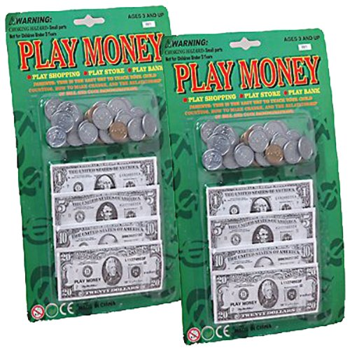 Play Money 2 Pack 120 pc Set (240 Total Pieces) W/Bills & Coins