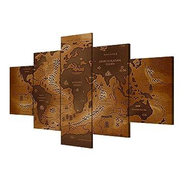 Giclee Moderno Lona Impresiones Obra Gráfica mapa antiguo Inicio sala de decoración pintura pintura mural (paquete de 5) , With Borders , SizeA