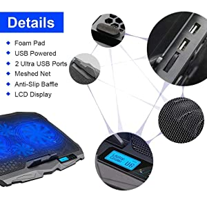 AICHESON Laptop Cooler, Laptop Cooling Pad Chill Mat with 4 Quiet Fans USB Powered Adjustable Mounts Stand with LCD Display and LED Lights (Color: Black_4 fans w/LCD)