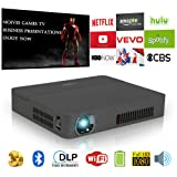 Mini Pocket DLP 3D HD Bluetooth Projector, Smart Portable LED Android Wireless WiFi Projector Built-in Battery HDMI SD USB Audio Speakers Multimedia for Home Theater Cinema,Party,PPT,Games (Color: 2000lm Mini Wifi Bluetooth DLP Projector)