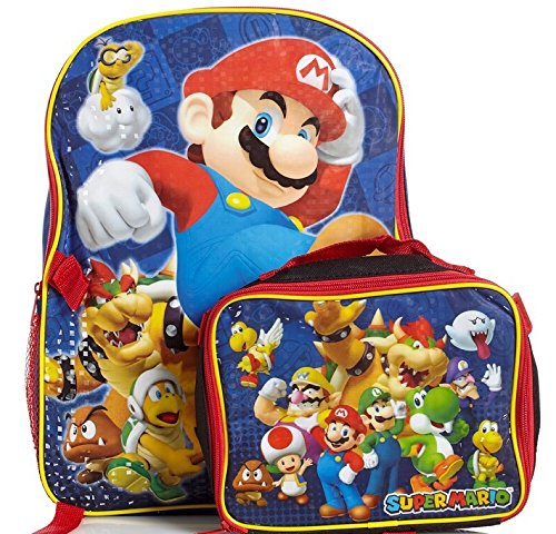 Super Mario Kids School Backpack with Insulated Lunch Tote Bag (Super Mario Bros Comforter compare prices)