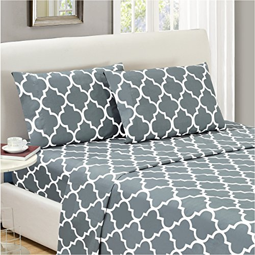 Mellanni Bed Sheet Set Full-Gray - HIGHEST QUALITY Brushed Microfiber Printed Bedding - Deep Pocket, Wrinkle, Fade, Stain Resistant - Hypoallergenic - 4 Piece (Full, Quatrefoil Silver - Gray) (Girls Sheets Full compare prices)