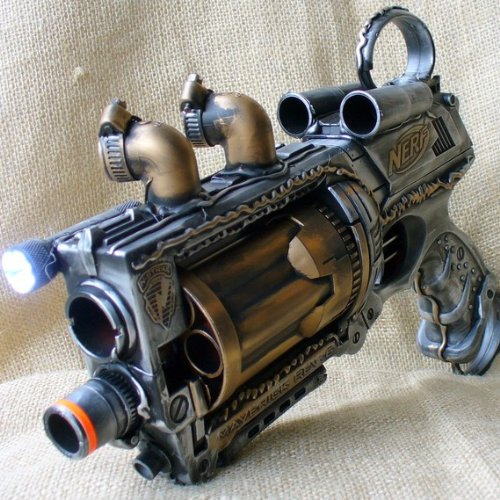 Steampunk gun Victorian Nerf N-Strike Maverick Zombie Fall Out Soft Dart toy- Hand Painted
