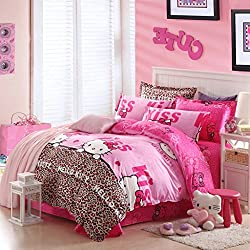 "Warm Embrace Children Bedding Series 100% Cotton Hello Kitty Pink Leopard Duvet Cover Set & Fitted sheet,Queen 86"" x 86"",4 Piece"