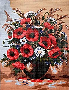 A VASE OF POPPIES & DAISIES NEEDLEPOINT CANVAS