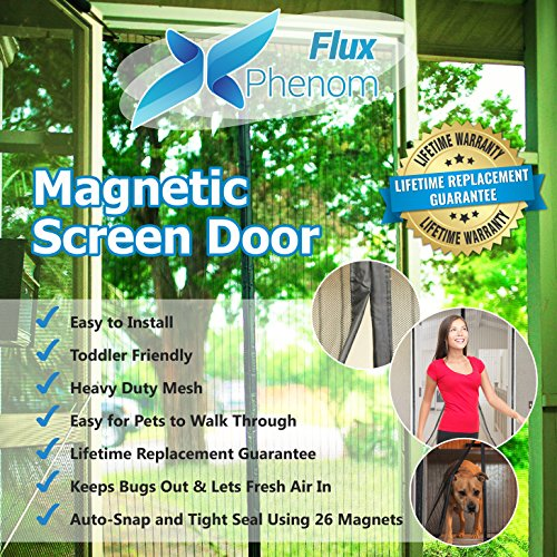 Flux Phenom Reinforced Magnetic Screen Door, Fits Door Up To 38 x 82-Inch (Glass Patio Door Dog Door compare prices)