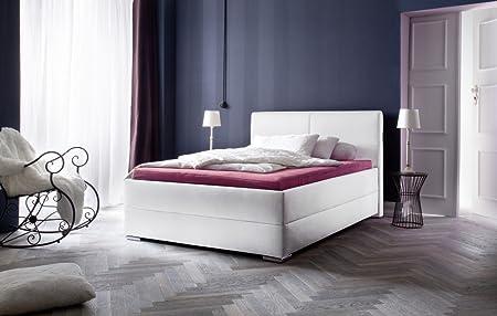 """Meise Möbel 1212-10-3000 Polsterbett in Boxspringoptik """"Magic"""" mit Kunderlederbezug, Liegefläche 140 x 200 cm, weiß Nähte schwarz"""