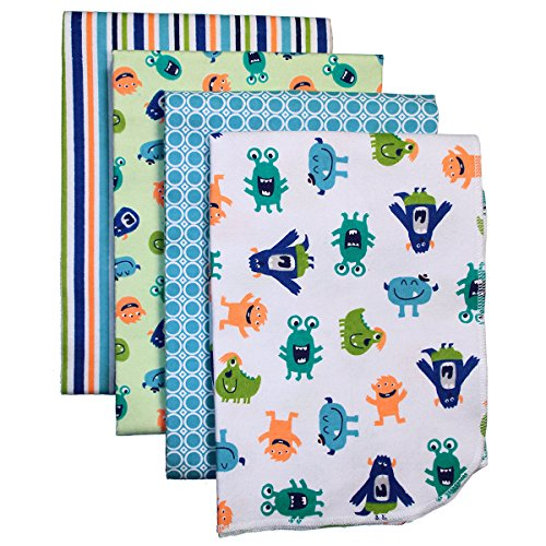 Carter'S 4-Pack Cotton Flannel Receiving Blankets, Monsters front-139978