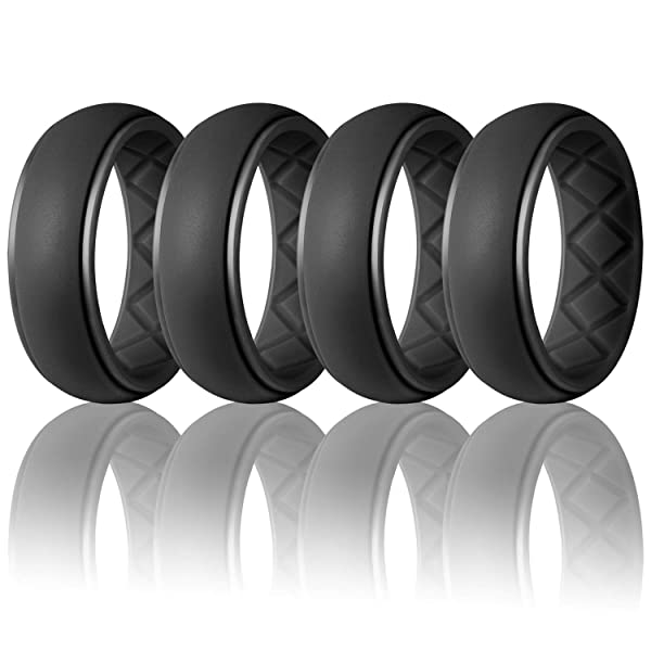 Men/'s Silicone Wedding Band Ring Working Sports Rubber 8mm Size 8 9 10 11 12 13