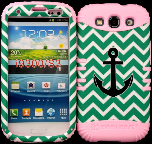 Hybrid Impact Rugged Cover Case Black Anchor On Teal Chevron Waves For Samsung Galaxy Slll S3 Fits Sprint L710, Verizon I535, At&T I747, T-Mobile T999, Us Cellular R530, Metro Pcs And All On Baby Pink Skin front-929969