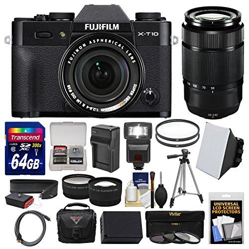 Fujifilm X-T10 Digital Camera & 18-55mm XF (Black) & 50-230mm II Lens + 64GB Card + Case + Flash + Battery & Charger + Tripod + Tele/Wide Lens Kit