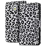 Fosmon CADDY-LEOPARD Leather Folio Wallet Case for Samsung Galaxy Note 3 III (White)