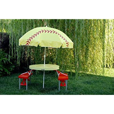 .com: Girls Softball Table / Umbrella Folding Set - Good Gift Idea
