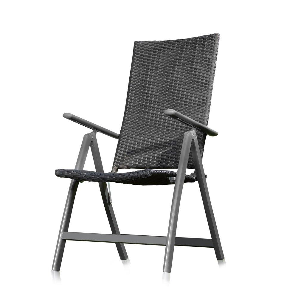 Polyrattan Klappstuhl mit verstellbarer Rückenlehne in schwarz jetzt kaufen