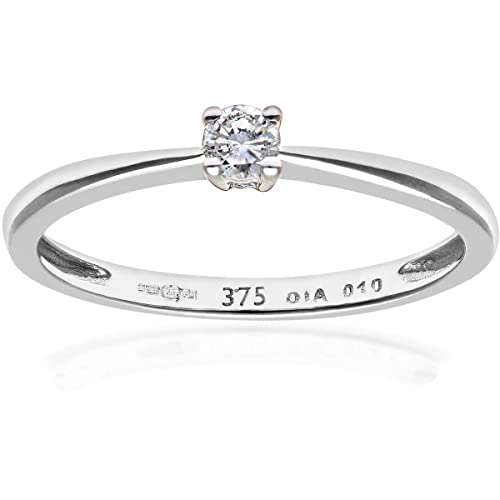 Naava 9ct Engagement Ring, IJ/I Certified Diamond, Round Brilliant, 0.25ct