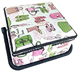 Purse and Heels Sewing Basket Pink Green 9.25x9.25x5 Inches