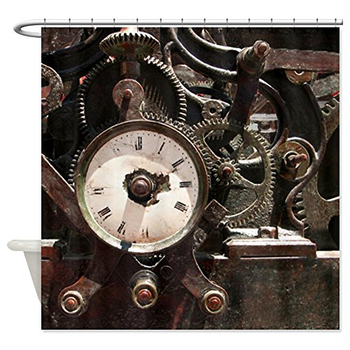 CafePress Industrial Clock/Gears Shower Curtain - Standard White
